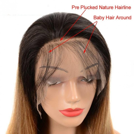 1B/27 Ombre Straight 13x4 lace frontal wigs virgin human hair with baby hair