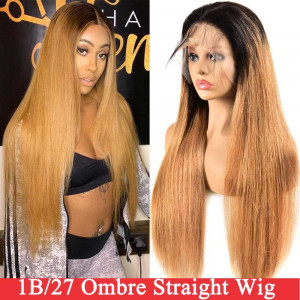 Ombre Straight hair Weave With Highlights 1B/27 4x4 lace closure wigs virgin human hair with baby hair