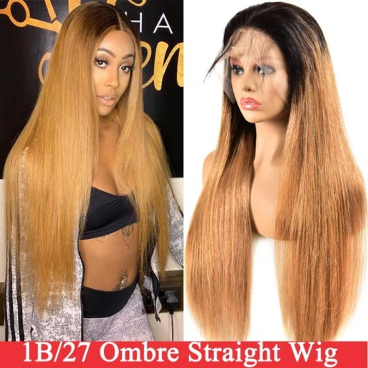 1B/27 Ombre Straight 4x4 lace closure wigs virgin human hair with baby hair
