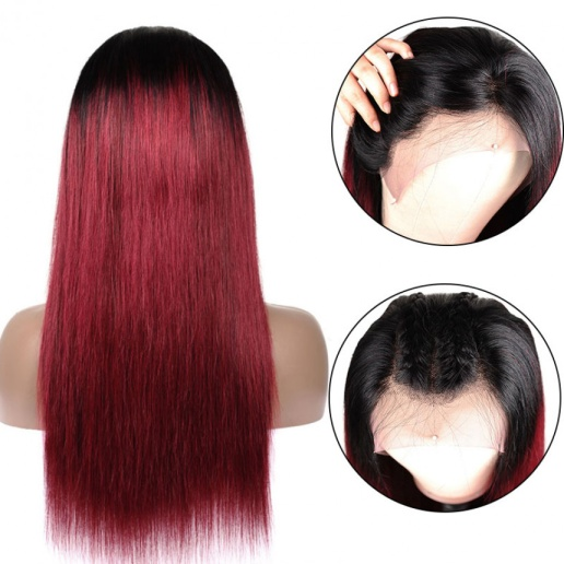 Color 1B/99J Ombre Straight 13x4 lace frontal wigs red color virgin human hair with baby hair