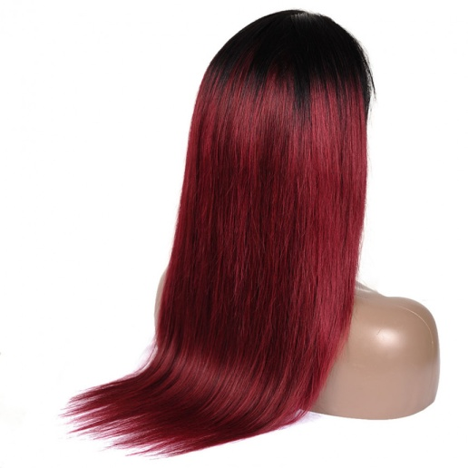 1B/99J Ombre Straight 13x4 lace frontal wigs red color virgin human hair with baby hair