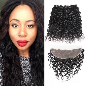 4 bundles peruvian water wave hair bundles with ear to ear lace frontal closure 100 virgin remy human hair weave