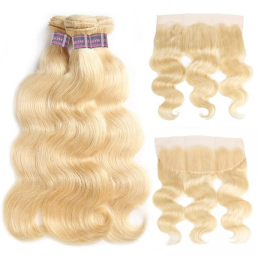 613 Blonde Body Wave Hair 3 Bundles With 13*4 Lace Frontal