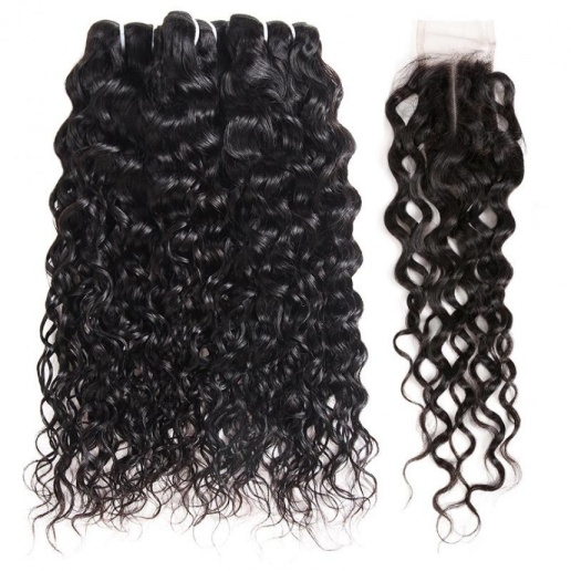 Brazilian Hair Bundles Water Wave Hair Weave 3 Bundles With 2x4 Lace Closure