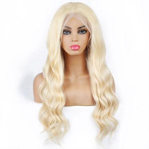 13X4 brazilian 613 boby wave lace frontal wig platinum blonde hair wigs