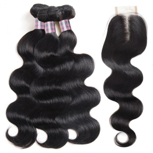 affordable brazilian body wave hair bundles with baby hair  3 bundles hair weave with 2x4 lace closure