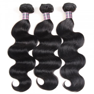 brazilian body wave hair bundles with baby hair  3 bundles hair weave with 2x4 lace closure