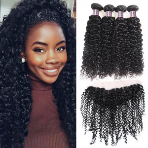 brazilian curly hair 4 bundles with lace frontal