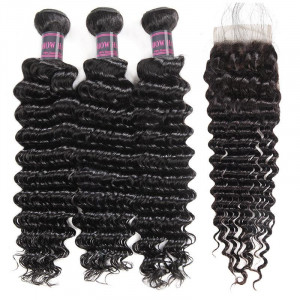 brazilian hair deep wave 3 bundles with lace closure