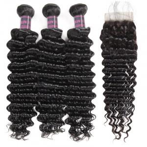 deep wave 3 bundles with brazilian hair  closure