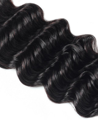 deep wave 3 bundles with brazilian hair  closure