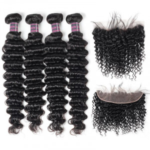 deep wave bundles with frontal brazilian hair deep wave 4 bundles with lace frontal