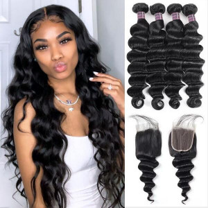 brazilian loose deep wave hair 4 bundles with lace closure