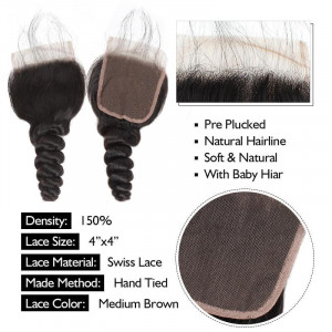 brazilian hair loose wave 4 bundles with lace closure