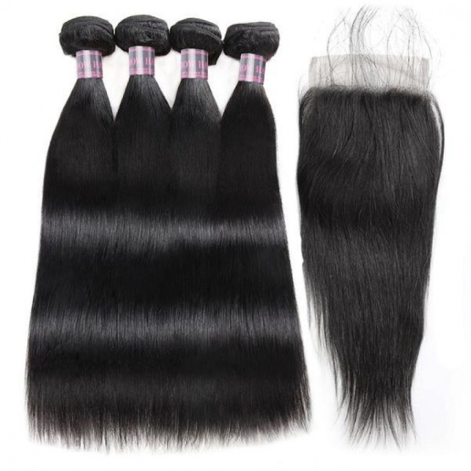 brazilian hair straight hair 4 bundles with lace closure