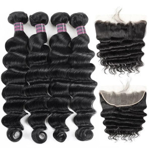 brazilian loose deep wave hair bundles with 13 4 ear to ear lace frontal closure