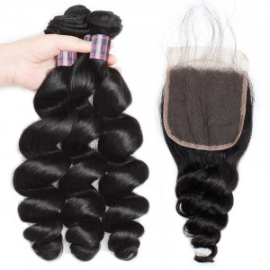 brazilian loose wave human hair weave 3 bundles with lace closure