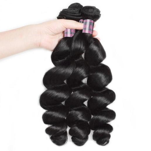 brazilian loose wave human hair weave 3 bundles with lace closure