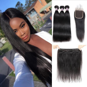 brazilian straight hair 3 bundles with lace closure 1