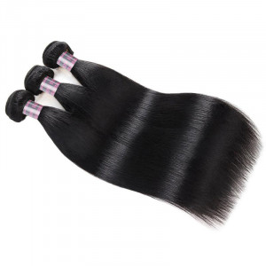 brazilian straight hair bundles with baby hair  3 bundles hair weave with 2x4 lace closure