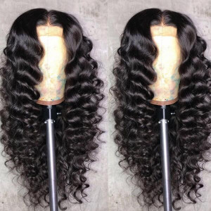deep wave virgin remy human hair lace front wig