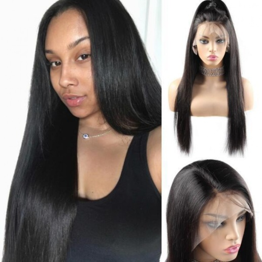 4x4 Lace Closure Wig Malaysian Straight Weave Virgin Remy Human Hair Wigs