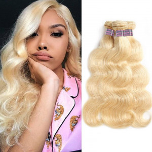 613 Blonde Color 3 Bundles Body Wave Virgin Brazilian Human Hair