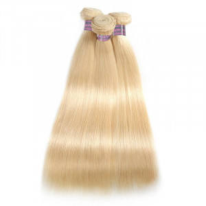 3 bundles of brazilian straight hair 613 Blonde Color