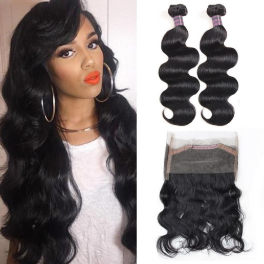Body Wave Hair 2 Bundles With 360 lace Frontal Virgin Brazilian Human Hair Extensions