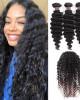 Brazilian Virgin Deep Wave Hair 3 Bundles With 360 Lace Frontal Human Hair