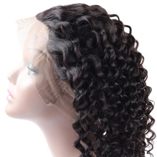 Virgin Brazilian Deep Wave Hair 3 Bundles With 360 Lace Frontal Human Hair