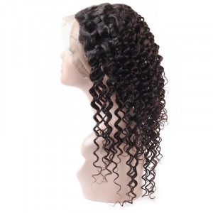 Virgin Brazilian Deep Wave Hair 3 Bundles With 360 Lace Frontal Human Hair