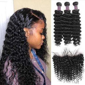 Virgin Brazilian Hair Deep Wave 3 Bundles with 13*4 Lace Frontal