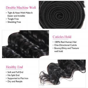 Virgin Brazilian Hair Deep Wave Human Hair Weave 3 Bundles Natural Color