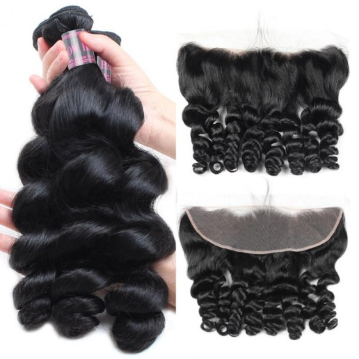 Brazilian Loose Wave Hair 3 Bundles with 13*4 Lace Frontal