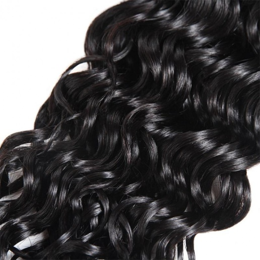 Water Wave 3 Bundles Hair Weave With 2x4 Lace Closure