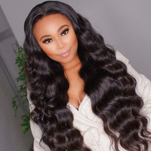 Cheap Brazilian Loose Deep Wave 4x4 Lace Closure Wig 100% Unprocessed Human Hair