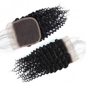 Virgin Curly Human Hair 4*4 Lace Closure with Baby Hair