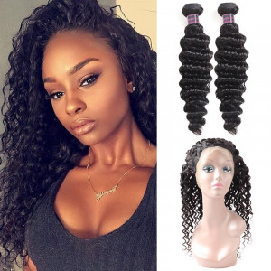 deep wave 2 bundles with 360 lace frontal