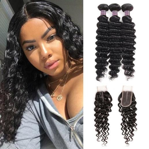 Deep Wave Hair 3 Bundles with 2*4 Lace Closure Ishow Virgin Human Hair