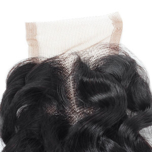 Deep Wave Hair 3 Bundles with 2*4 Lace Closure Ishow Virgin Human Hair