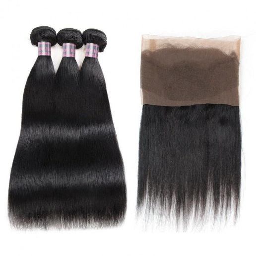 100% Virgin Remy Human Hair Bundles of Weft Indian Straight Natural Color 3 Bundles With 360 Lace Frontal Closure