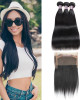Indian Virgin Remy Hair  Indian Straight Natural Color 3 Bundles With 360 Lace Frontal Closure