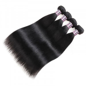 Virgin Indian Straight Human Hair Weave 4 Bundles