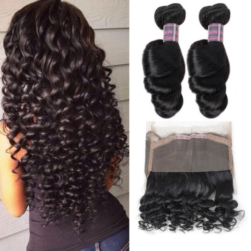 Loose Wave 100% Virgin Remy Human Hair Extensions 2 Bundles With 360 Lace Frontal  Bundles Weave