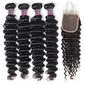 Malaysian Deep Wave Human Hair 4 Bundles With Lace Closure