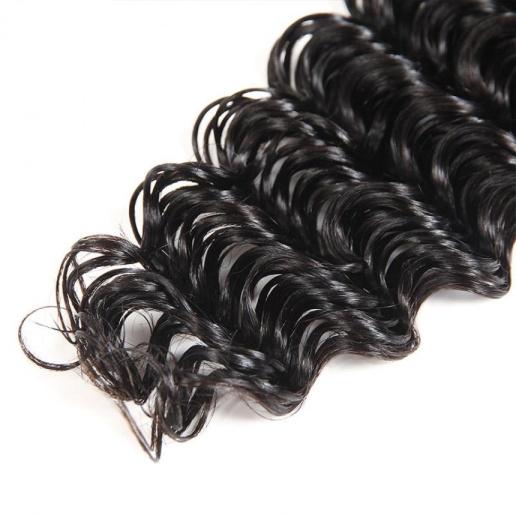 Malaysian Deep Wave Human Hair 4 Bundles With Lace Closure