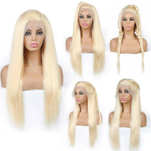 613 human hair wig malaysian summer blonde 613 color lace frontal straight human hair wig