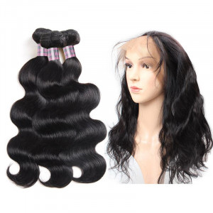 Peruvian Body Wave Virgin Remy Human Hair Weave 3 Bundles and 360 Lace Frontal