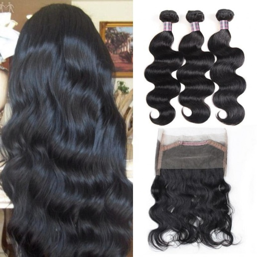 3 bundles and frontal-Peruvian Body Wave Virgin Remy Human Hair Weave 3 Bundles and 360 Lace Frontal